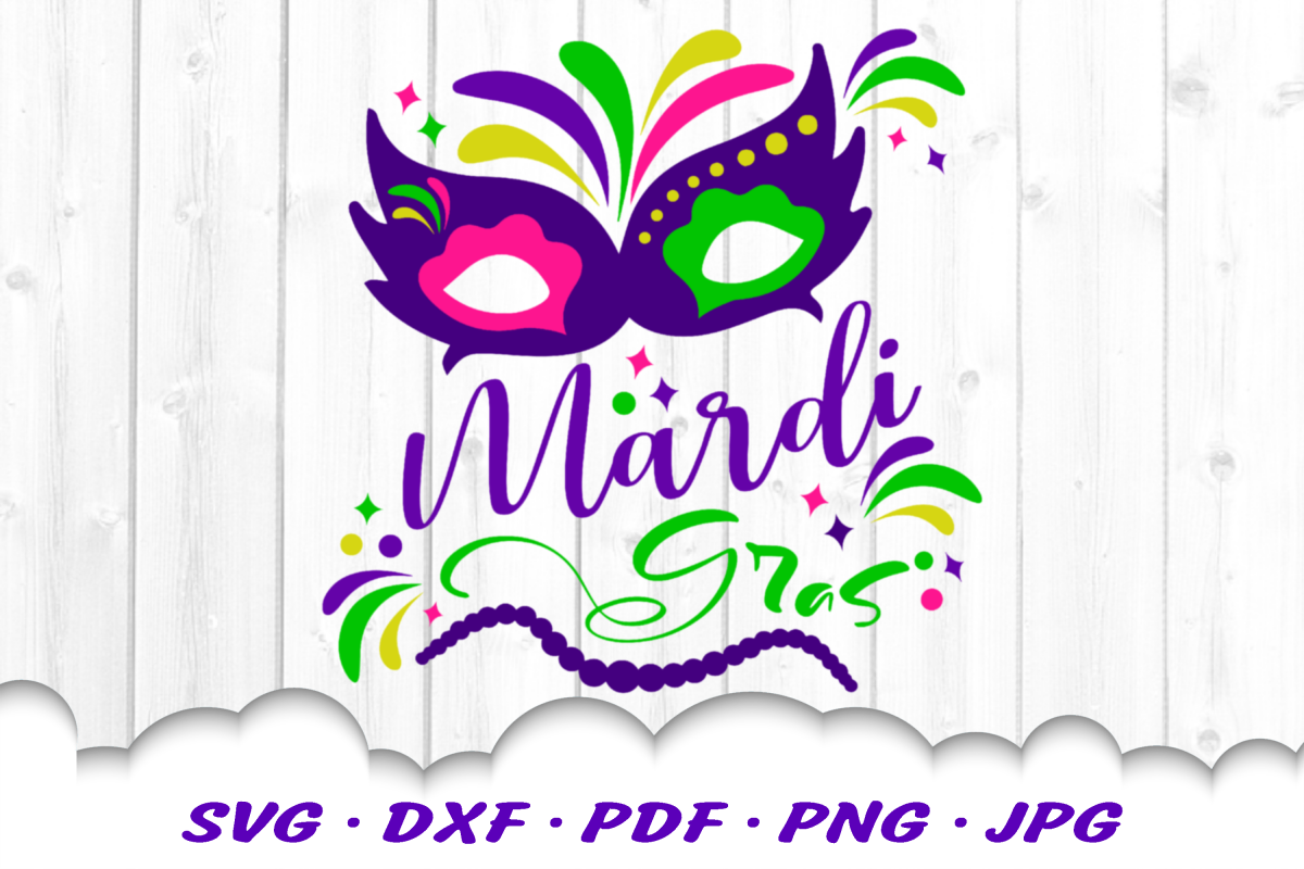 Mardi Gras Mask Beads SVG DXF Cut Files example image 1