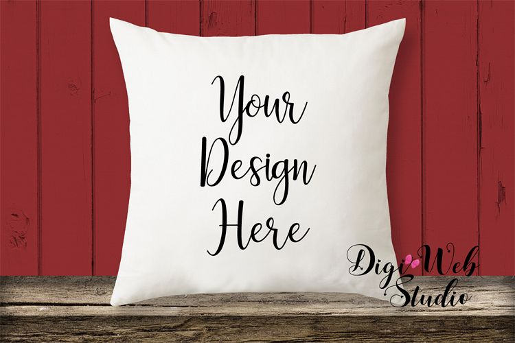 Pillow Mockup - Farmhouse Red Pillow on Wood Bench example image 1