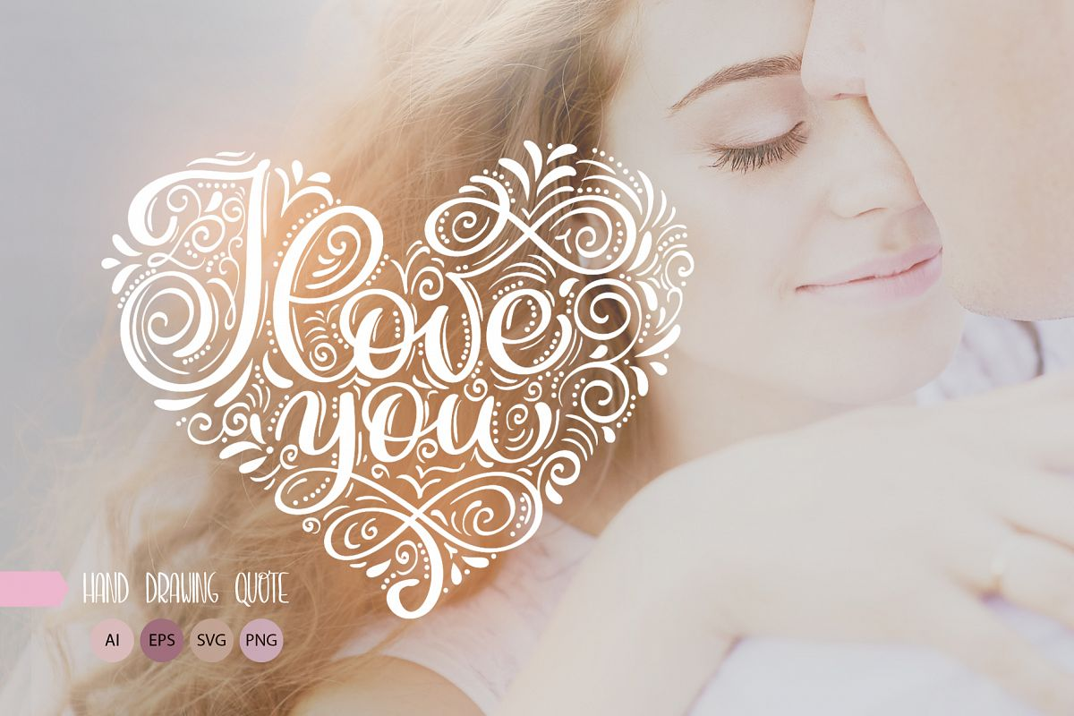 I Love You Vector Valentine Quote SVG example image 1
