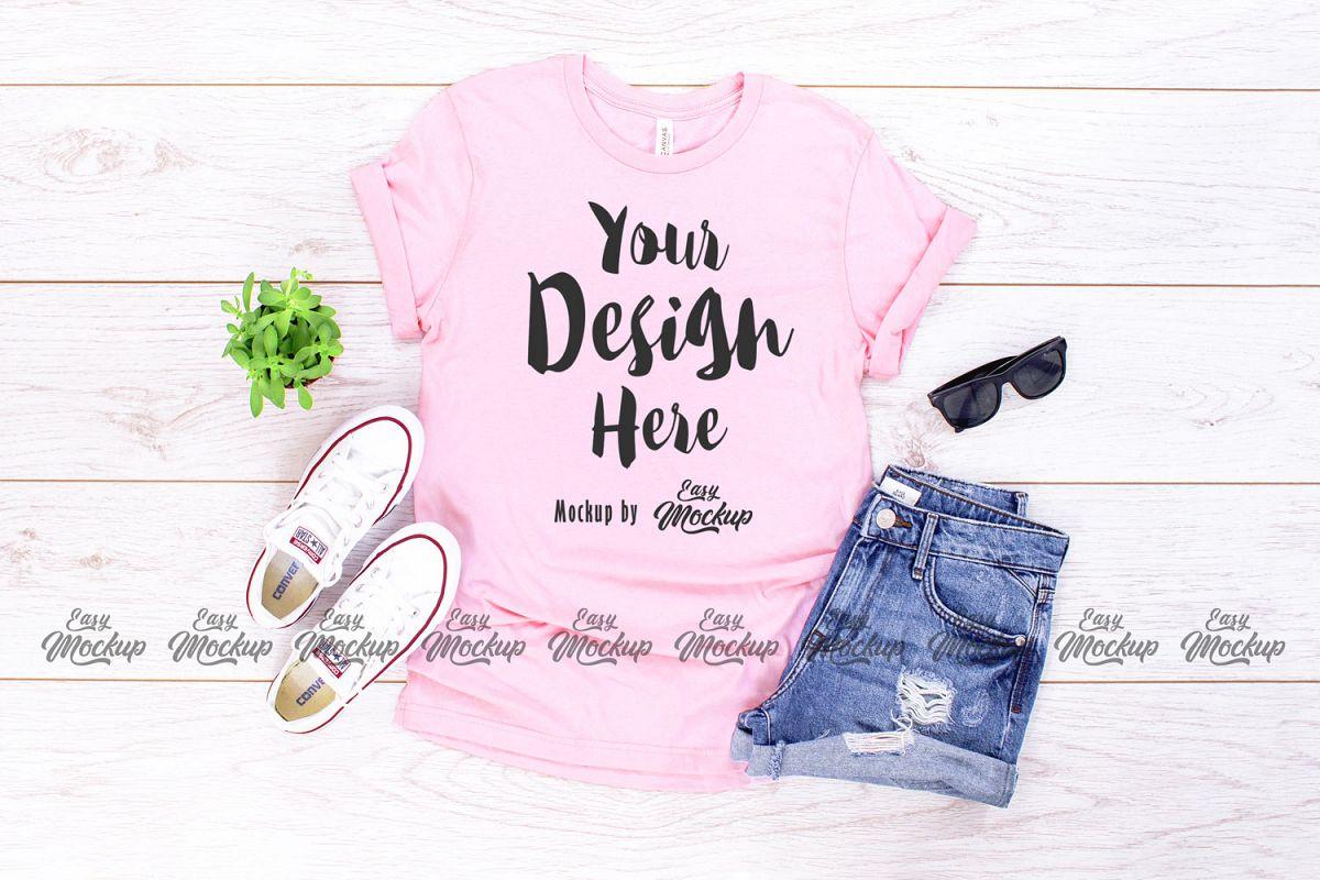 Pink Bella Canvas 3001 T Shirt Mockup example image 1