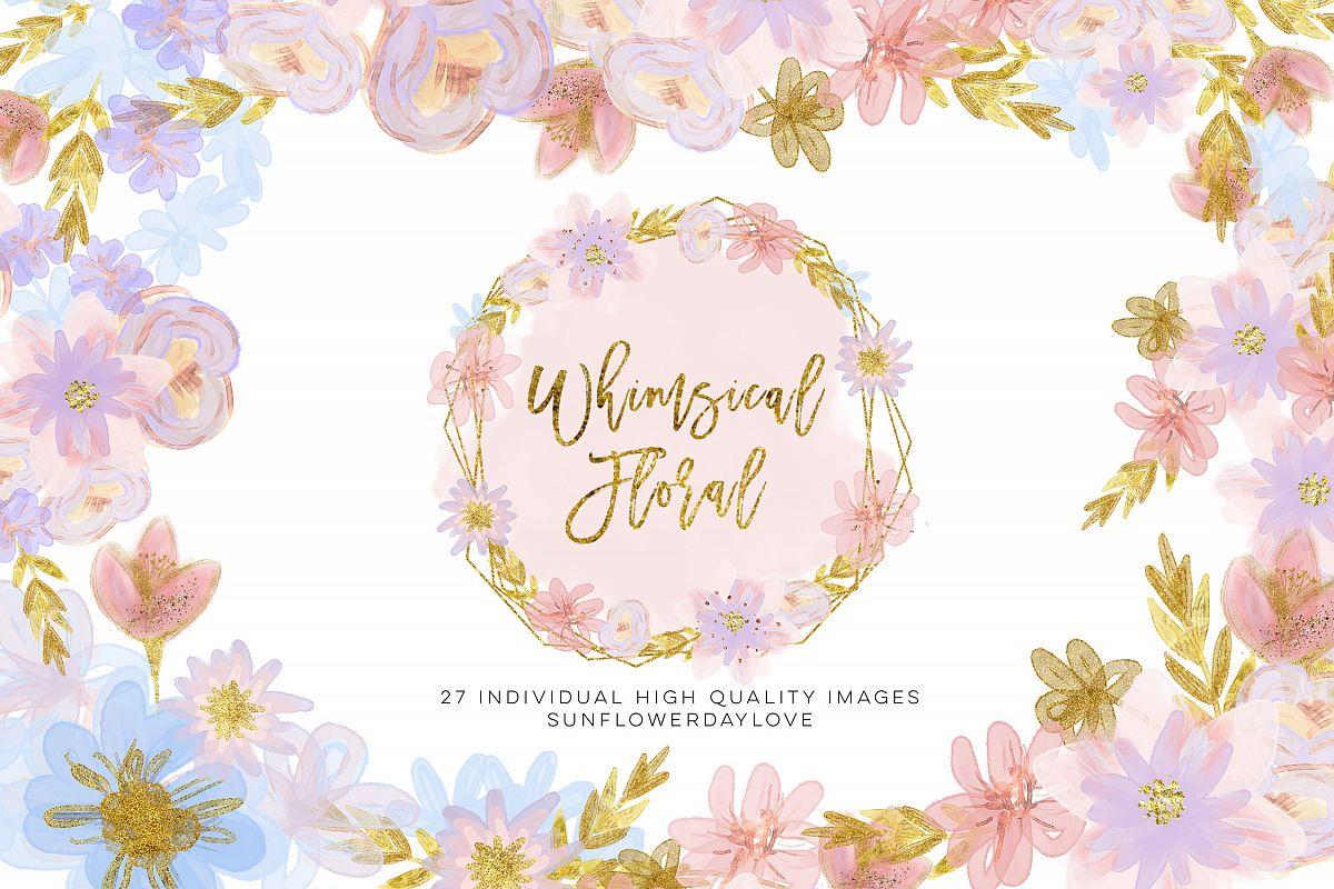 Pastel Floral Clipart,Whimsical winter Floral Clip Art ...