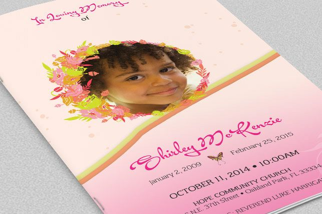 Pink Floral Funeral Program Template By Design Bundles - Photoshop wedding program template