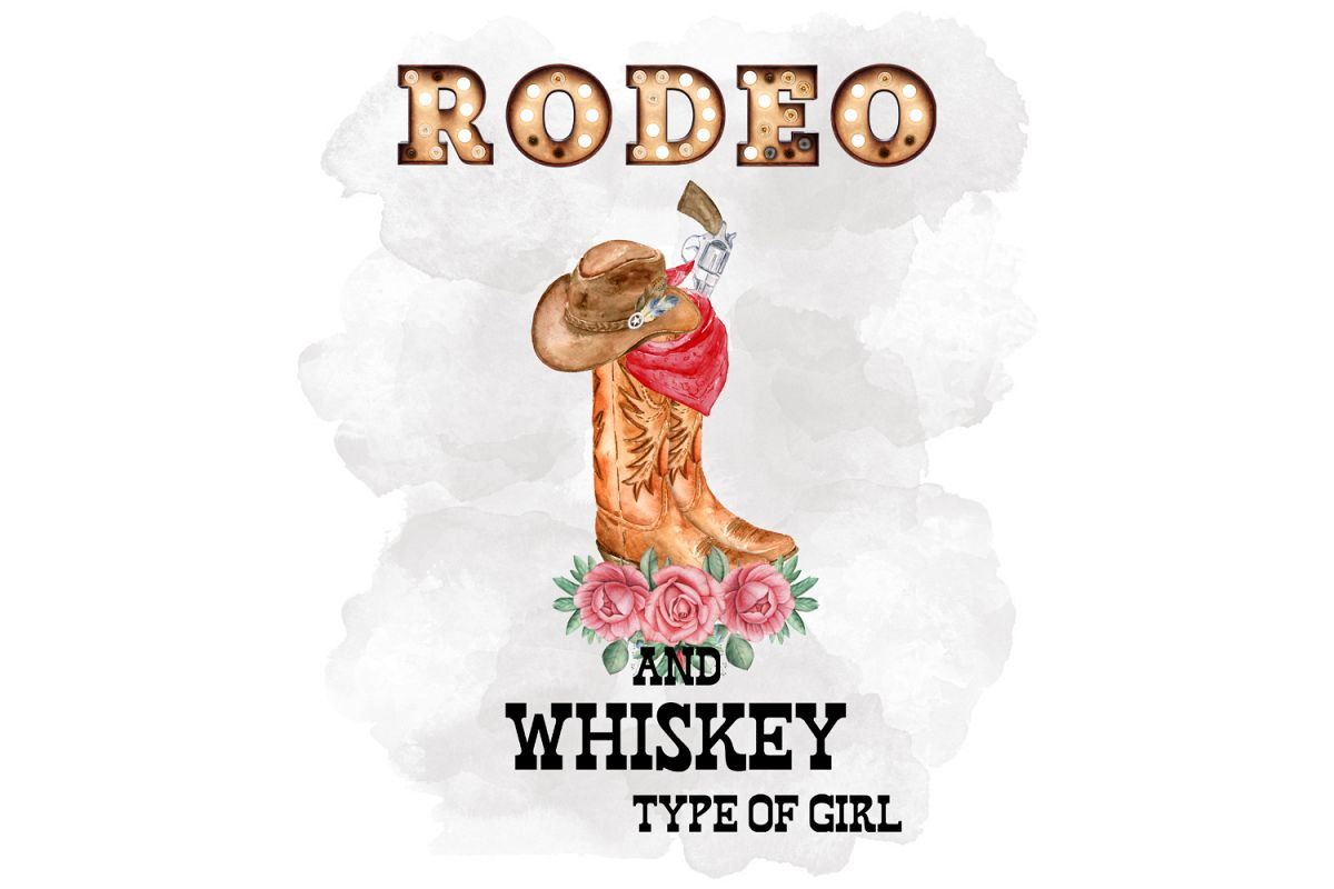 Rodeo And Whiskey Type Of Girl, Watercolor Clipart example image 1