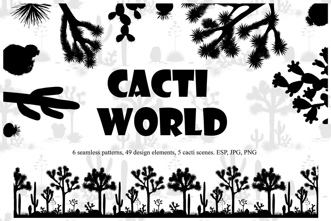 Cacti World. Big Vector Collection example image 1