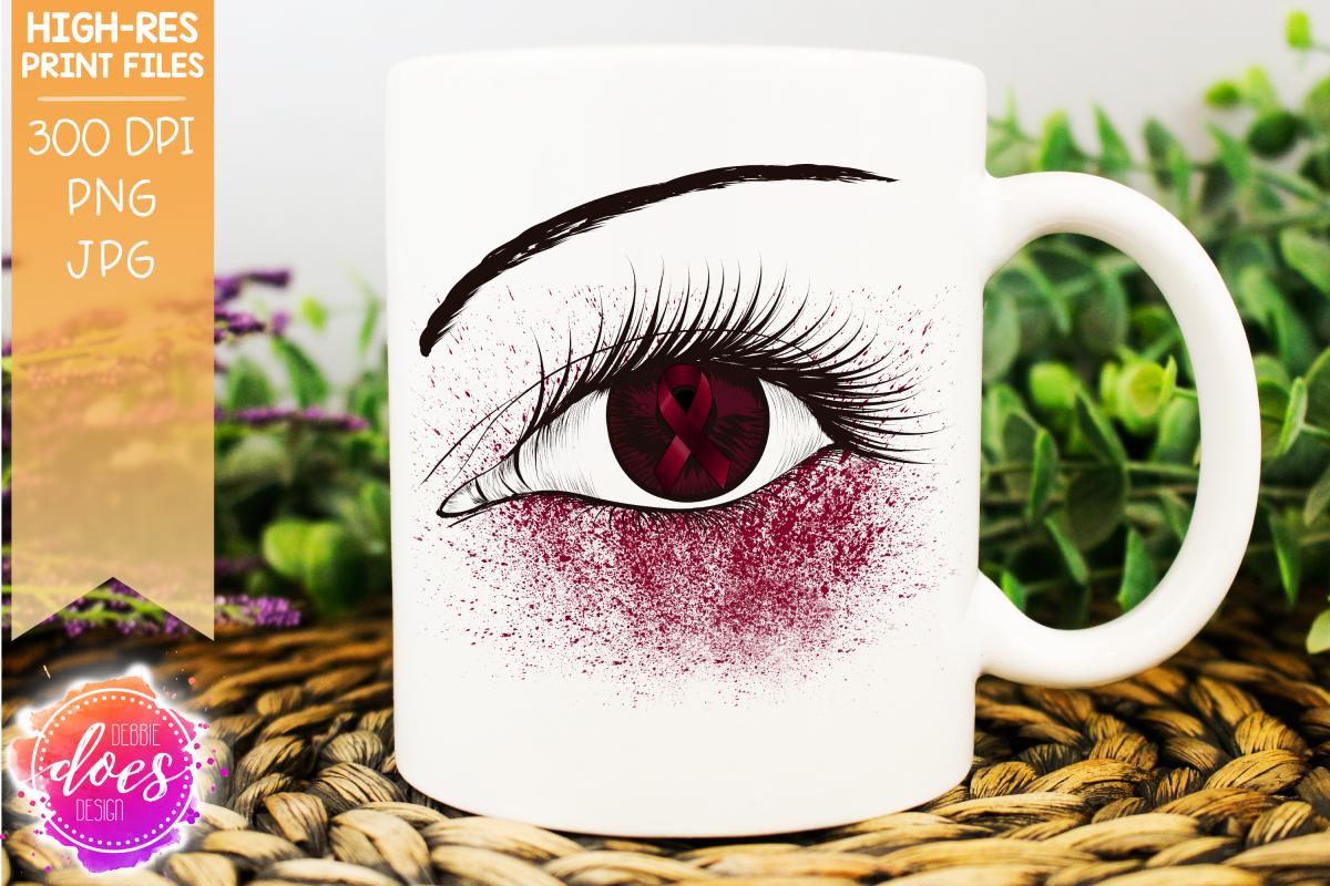 Burgundy Awareness Ribbon Eye - Printable Design example image 1