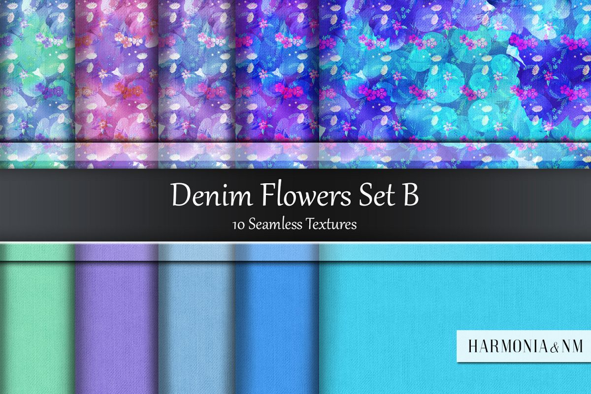 Denim Flowers Set B 10 Seamless Textures example image 1
