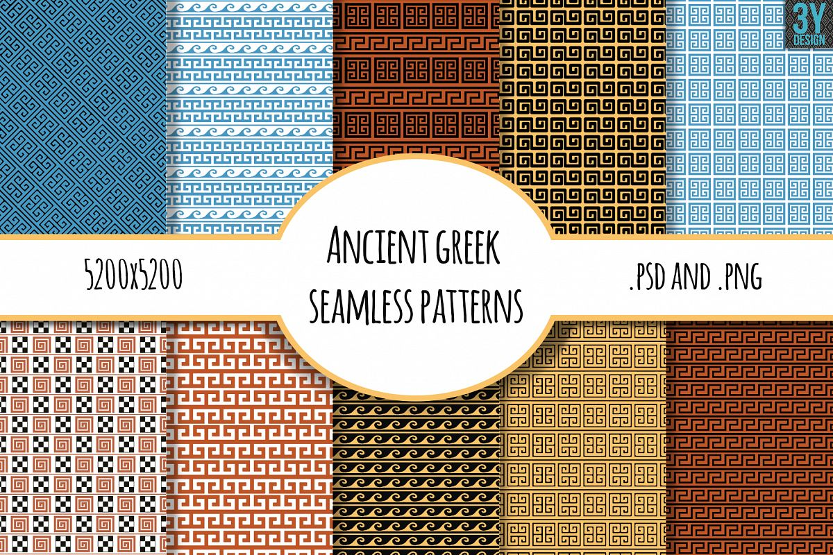 10 Ancient Greek Seamless Patterns example image 1