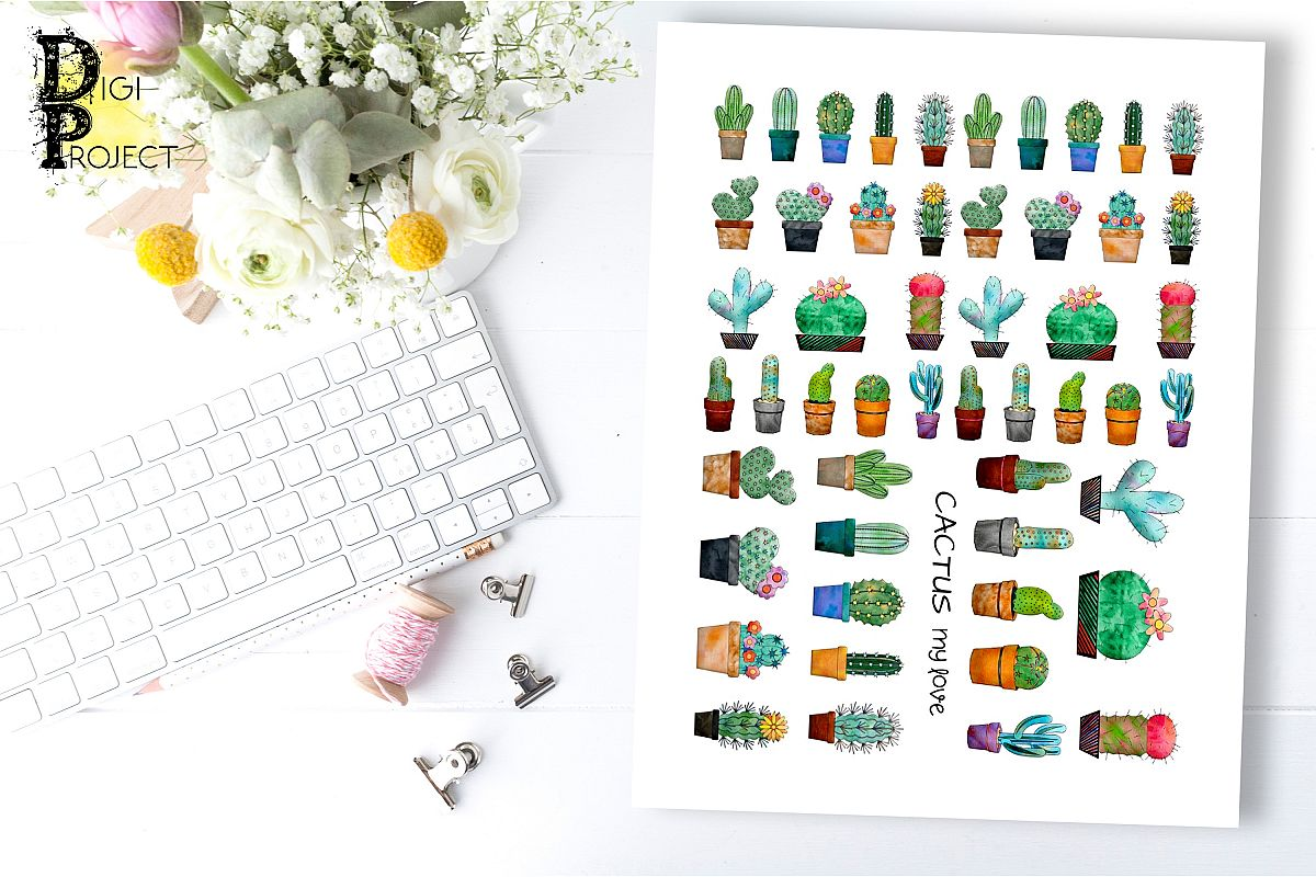 Cactus Printable Planner Stickers example image 1