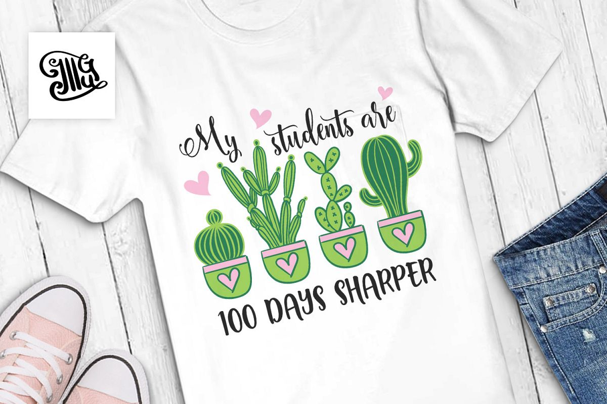 100 days of school for teacher svg with cactus clipart example image 1