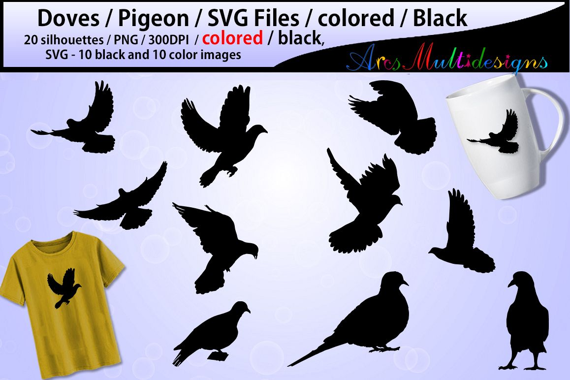 pigeon silhouette Doves pigeon printable dove doves SVG file PNG colored  doves colored pigeon silhouette pigeon svg file