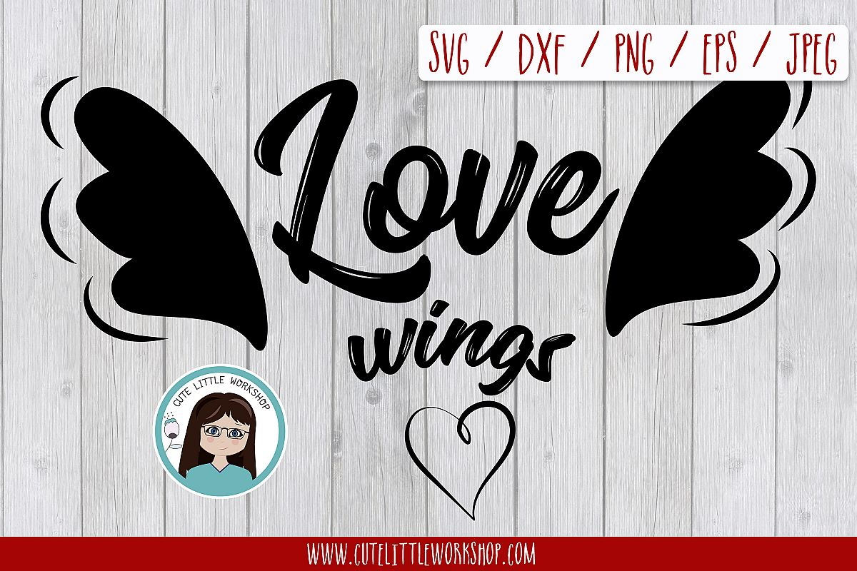 Love wings svg, dxf, png, eps example image 1