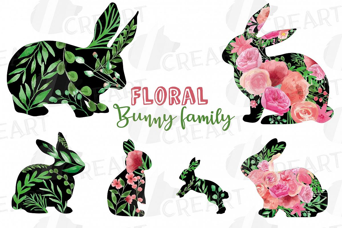 Floral rabbit family, sister, brother,papa and mama bunny example image 1