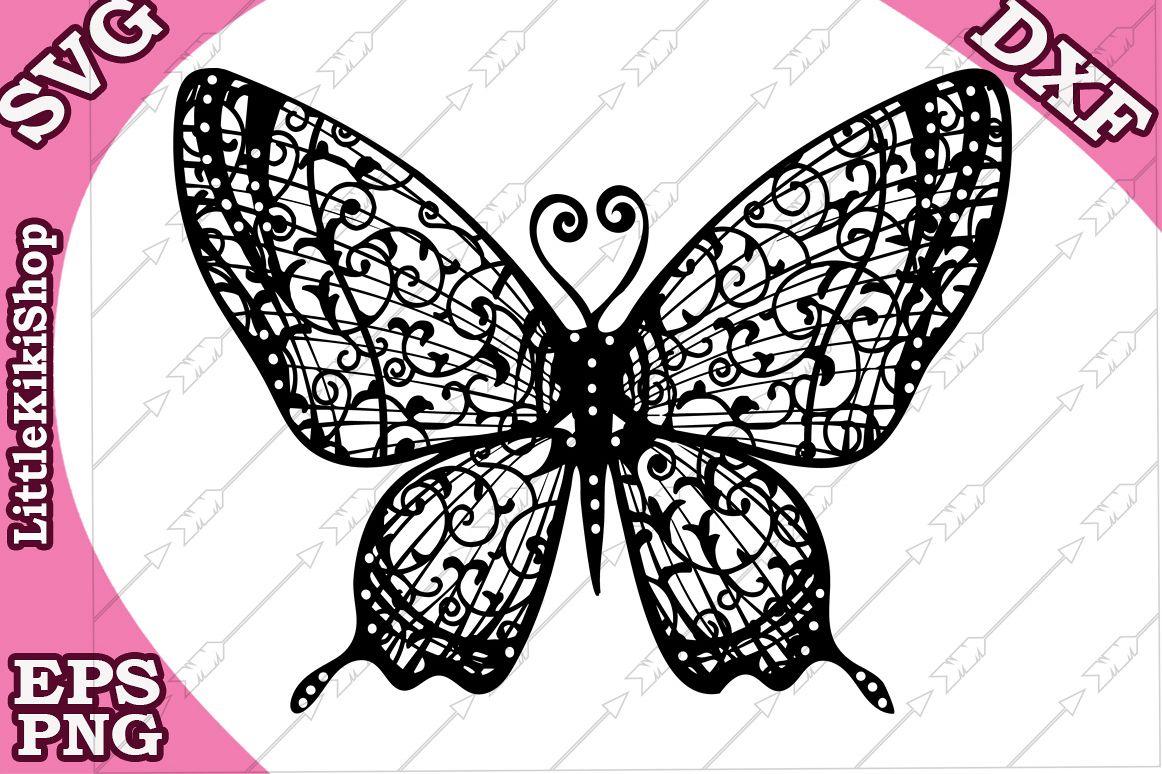 Zentangle Butterfly Svg, Mandala Butterfly cut file example image 1