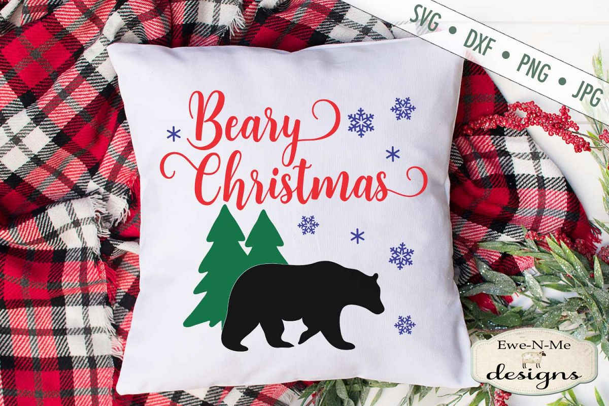 Beary Christmas - Bear - Snowflake - Winter - SVG example image 1