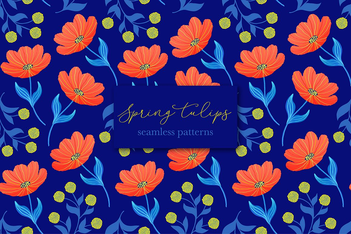 Spring tulips. Seamless patterns. example image 1