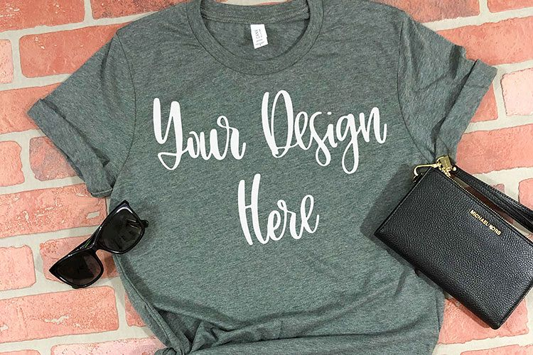 Bella 3001 Deep Heather Grey Mockup Photo - Flatlay Photo example image 1