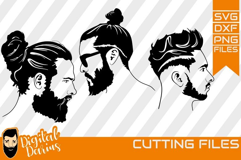 3x Beard man svg, Man face SVG, Man svg, Hairstyle man dxf example image 1