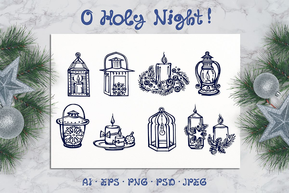 8 hand drawn Christmas candles and lanterns example image 1