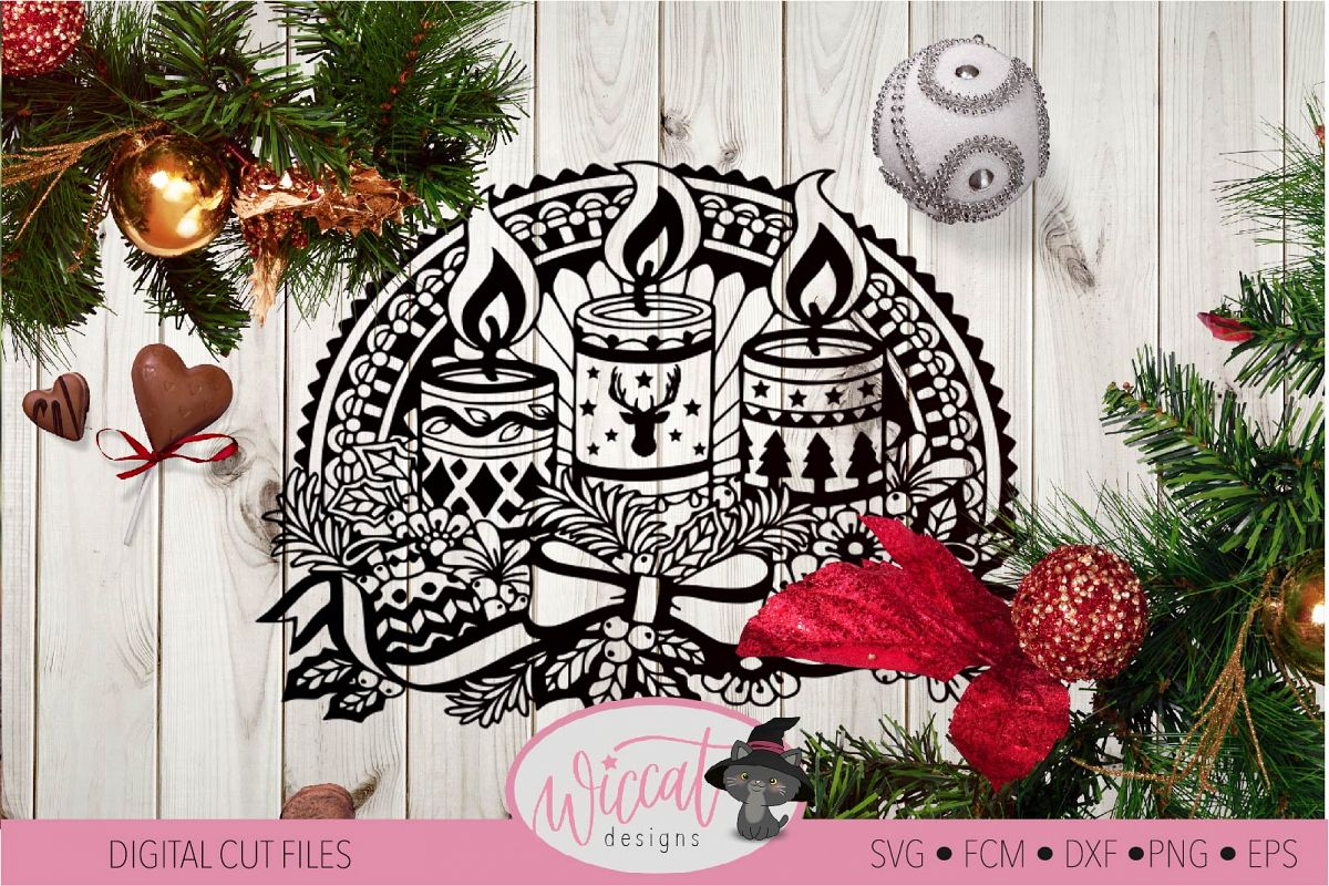 Doodle Christmas candle, Window Ornament design example image 1