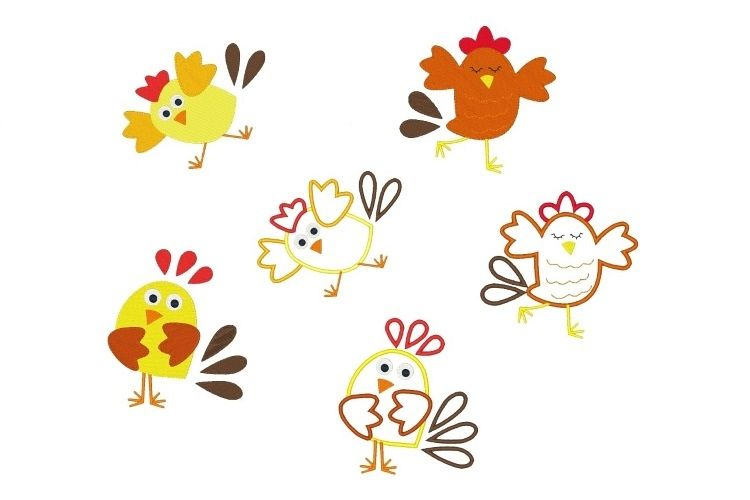 Goofy Chicken Machine Embroidery Designs Bundle Set of 6 example image 1
