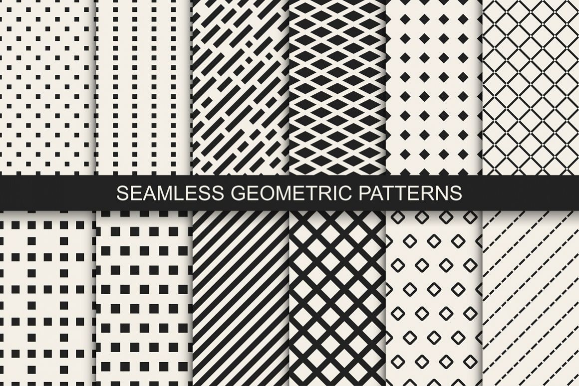 Geometric vector seamless patterns example image 1