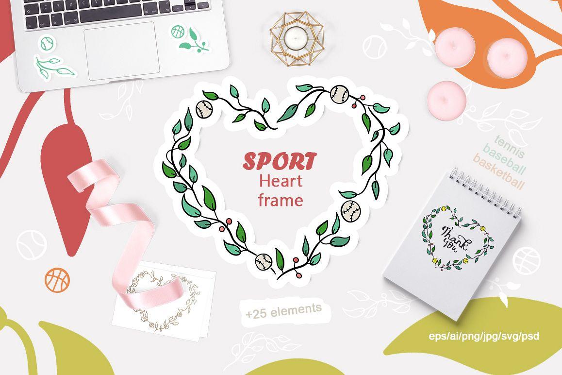 Sport heart frame. Tennis. Baseball. Ba | Design Bundles