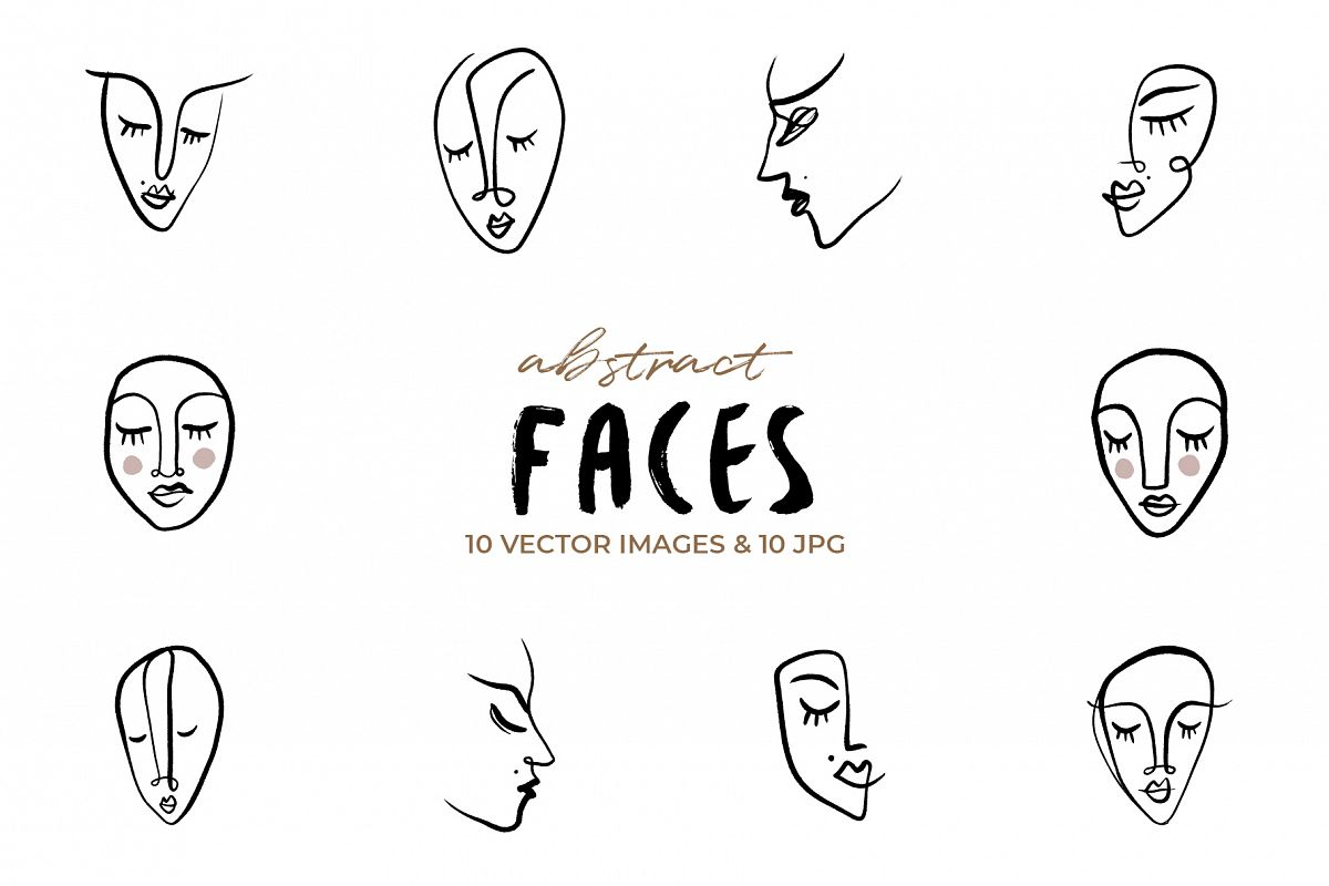 Vector line art faces clip art set example image 1