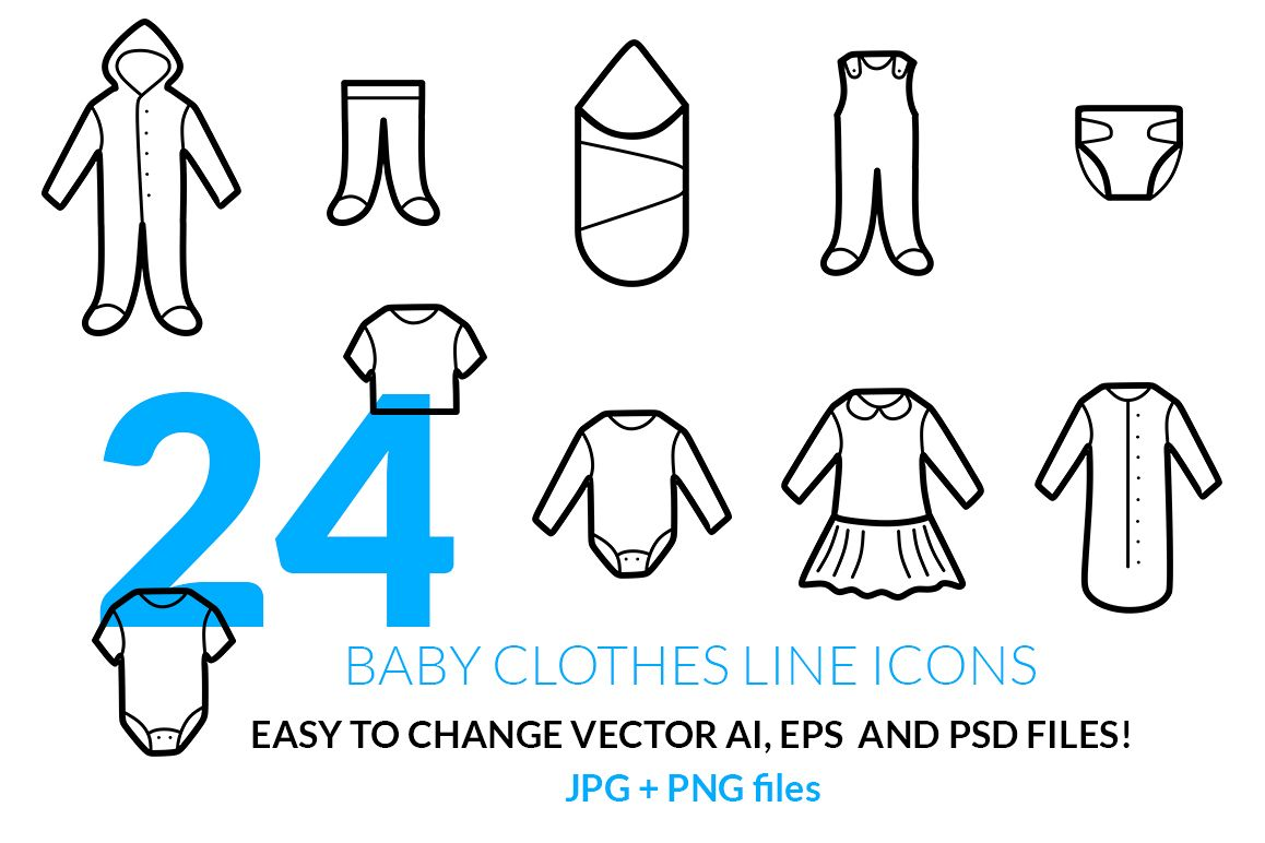 Baby Clothes Line Icons Set example image 1