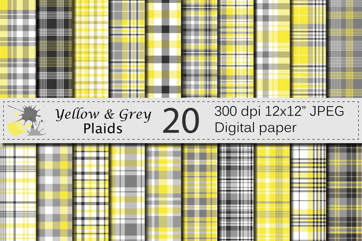 Yellow and Gray Plaid Digital Paper example image 1