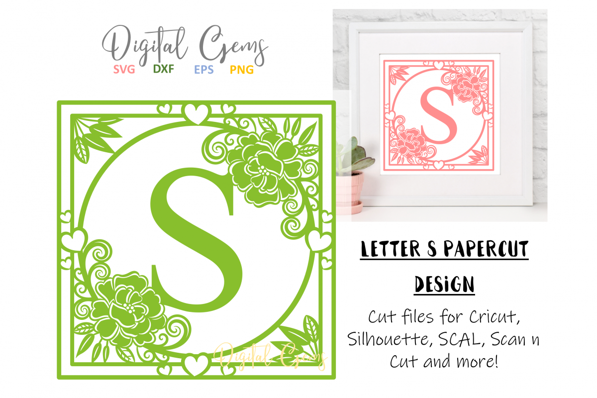 Letter S papercut design. SVG / DXF / EPS files example image 1