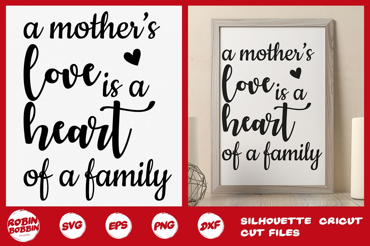 A Mother's Love is the Heart of the Family SVG - Mother SVG example image 1