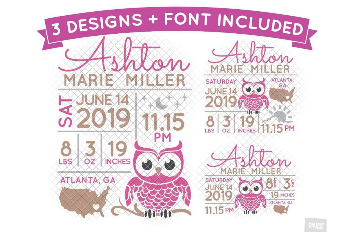 Owl Birth Stats SVG Announcement Template in SVG, DXF, EPS example image 1