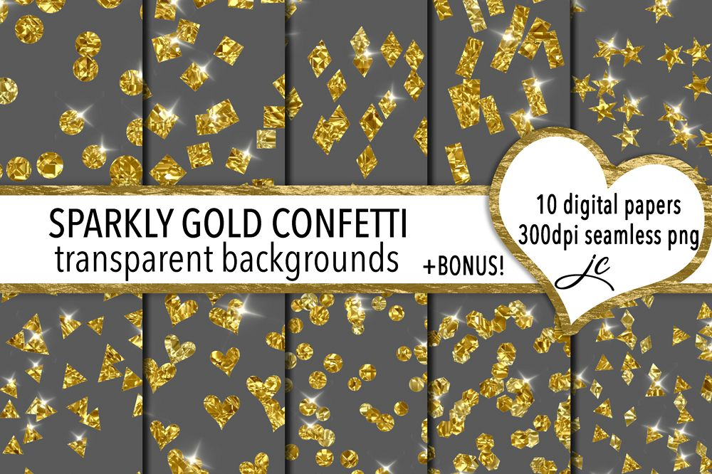 Sparkly Gold Confetti (transparent backgrounds) example image 1