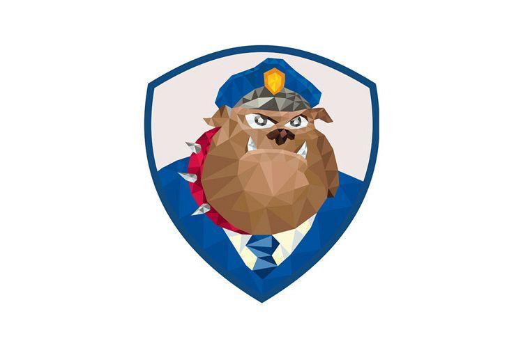 Bulldog Policeman Shield Low Polygon example image 1