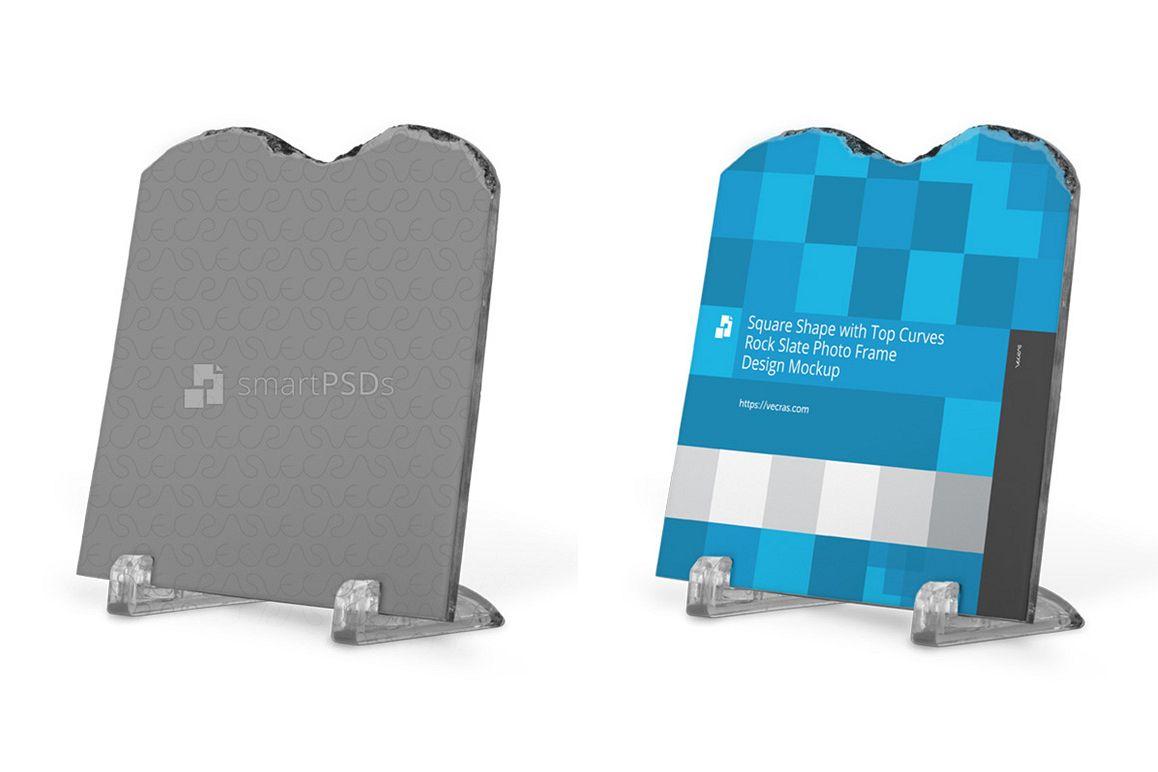 Square Shaped Rock Slate Photo Frame Design Mockup example image 1