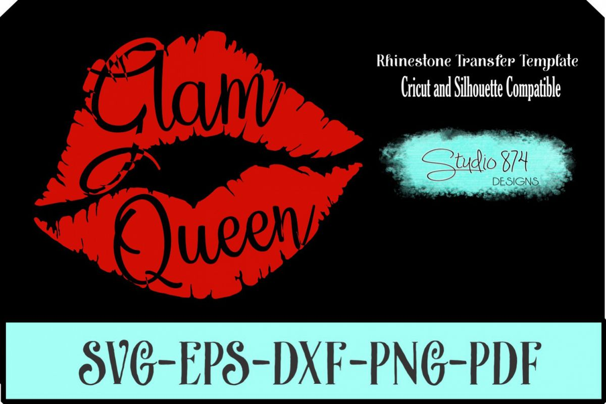 Glam Queen Lips Vector SVG Template - Vinyl Cut File example image 1