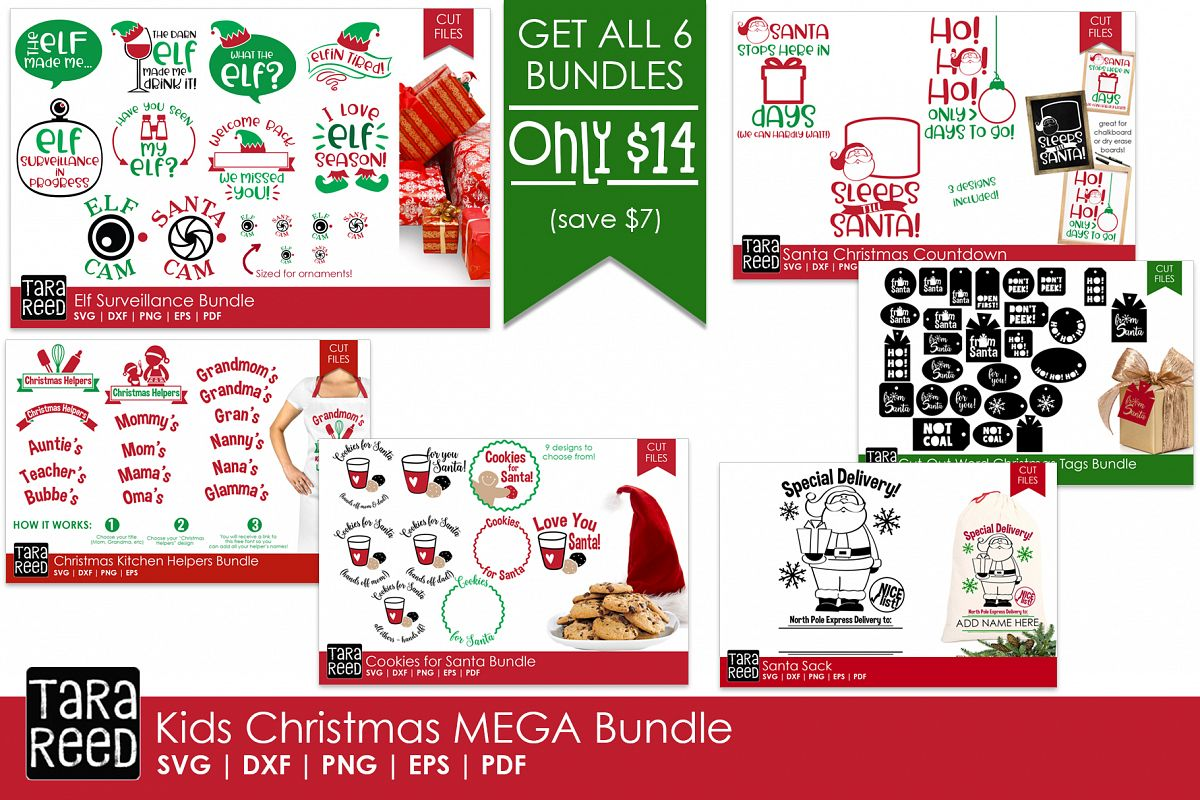 Kids Christmas MEGA Bundle - SVG and Cut Files for Crafters example image 1