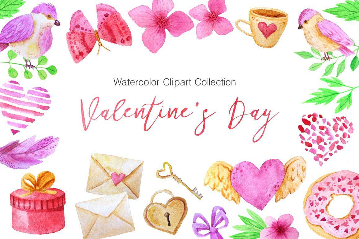 Watercolor Valentines Day Collection  example image 1