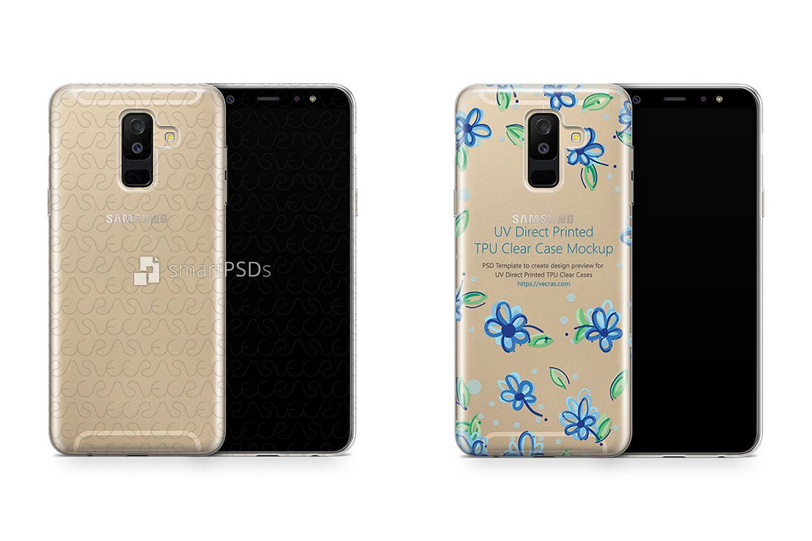 free shipping 8c603 fa0f1 Samsung Galaxy A6 Plus UV TPU Clear Case Design Mockup 2018