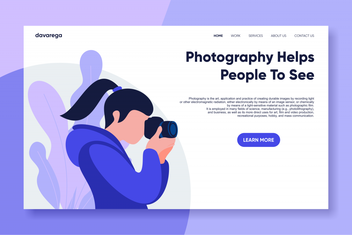 photography landing page flat design example image 1