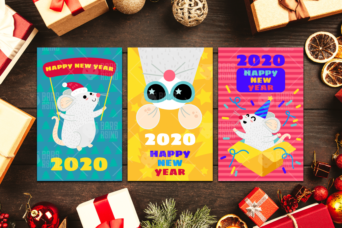 2020 Happy New Year With Mouse Set example image 1