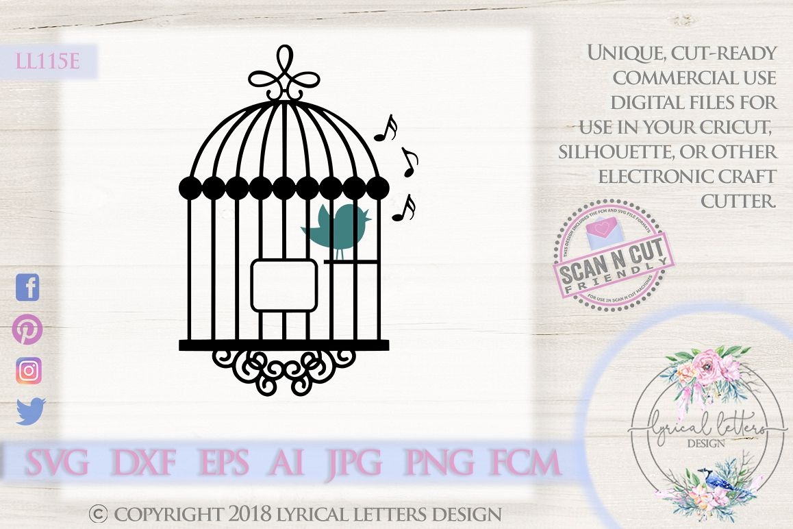 Song Bird In a Cage SVG DXF Cut File LL115E example image 1