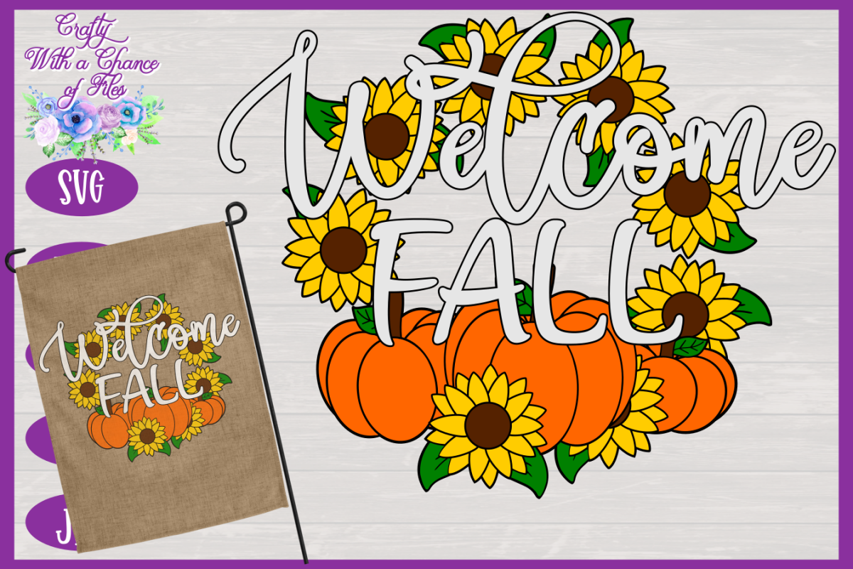Welcome Fall SVG | Autumn SVG | Sunflowers SVG | Pumpkin SVG example image 1