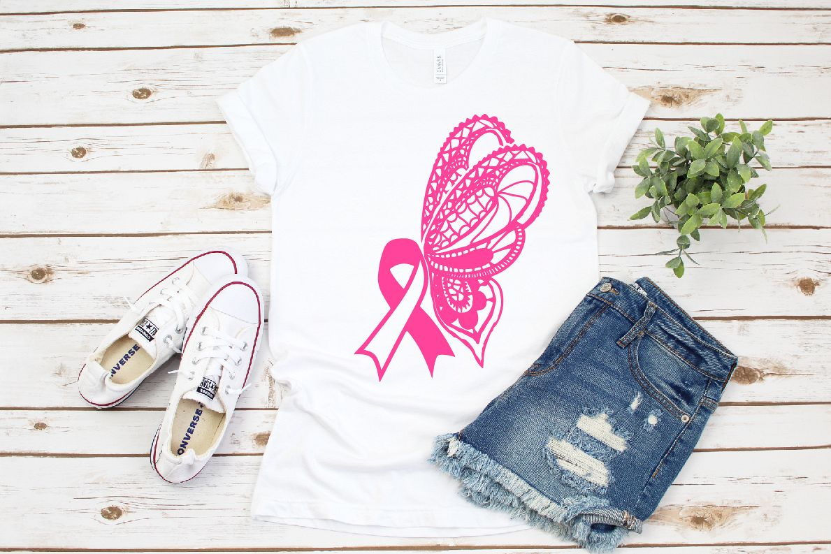 Cancer Ribbon Loss Ribbon Feather and butterfly SVG example image 1