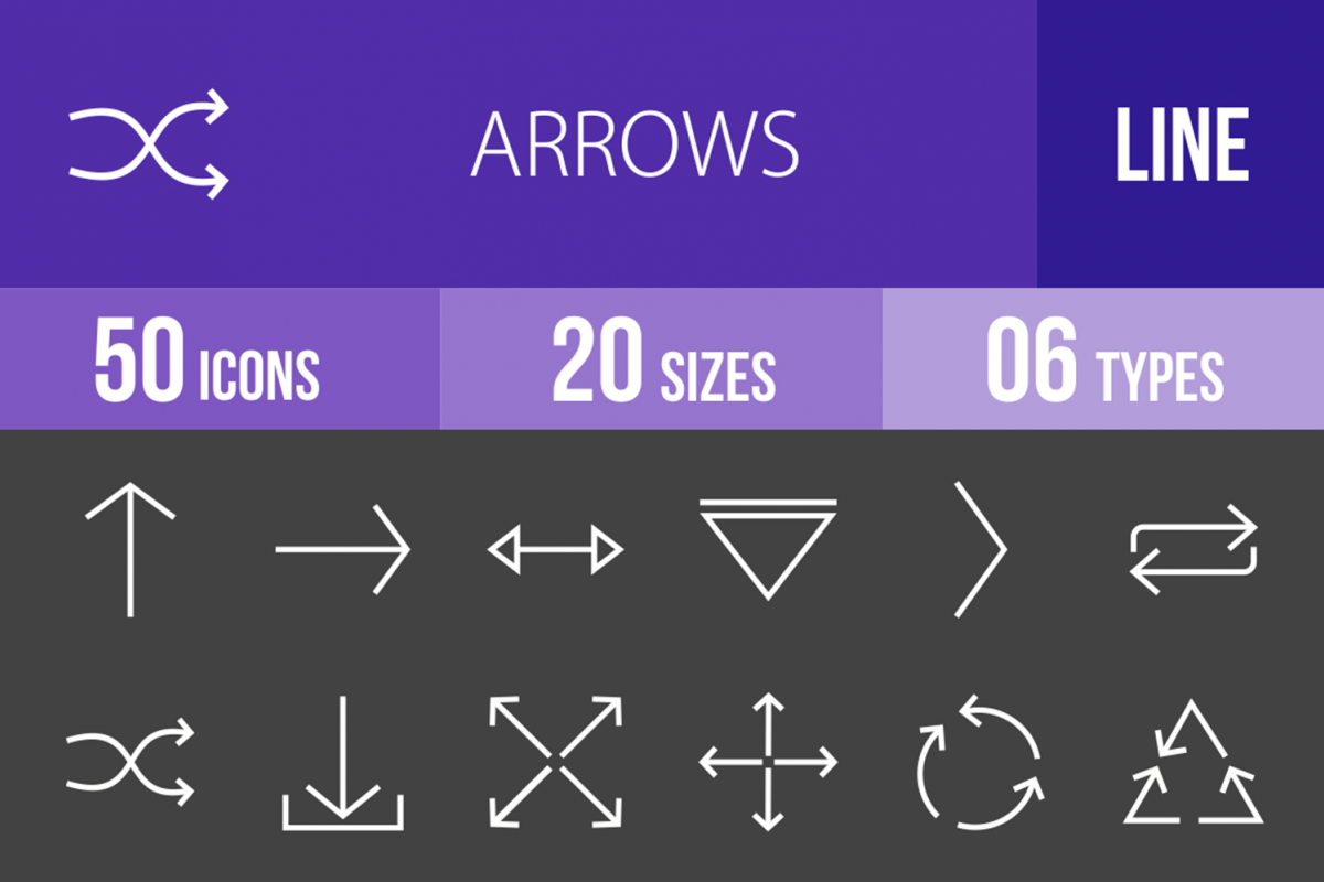 50 Arrows Line Inverted Icons example image 1
