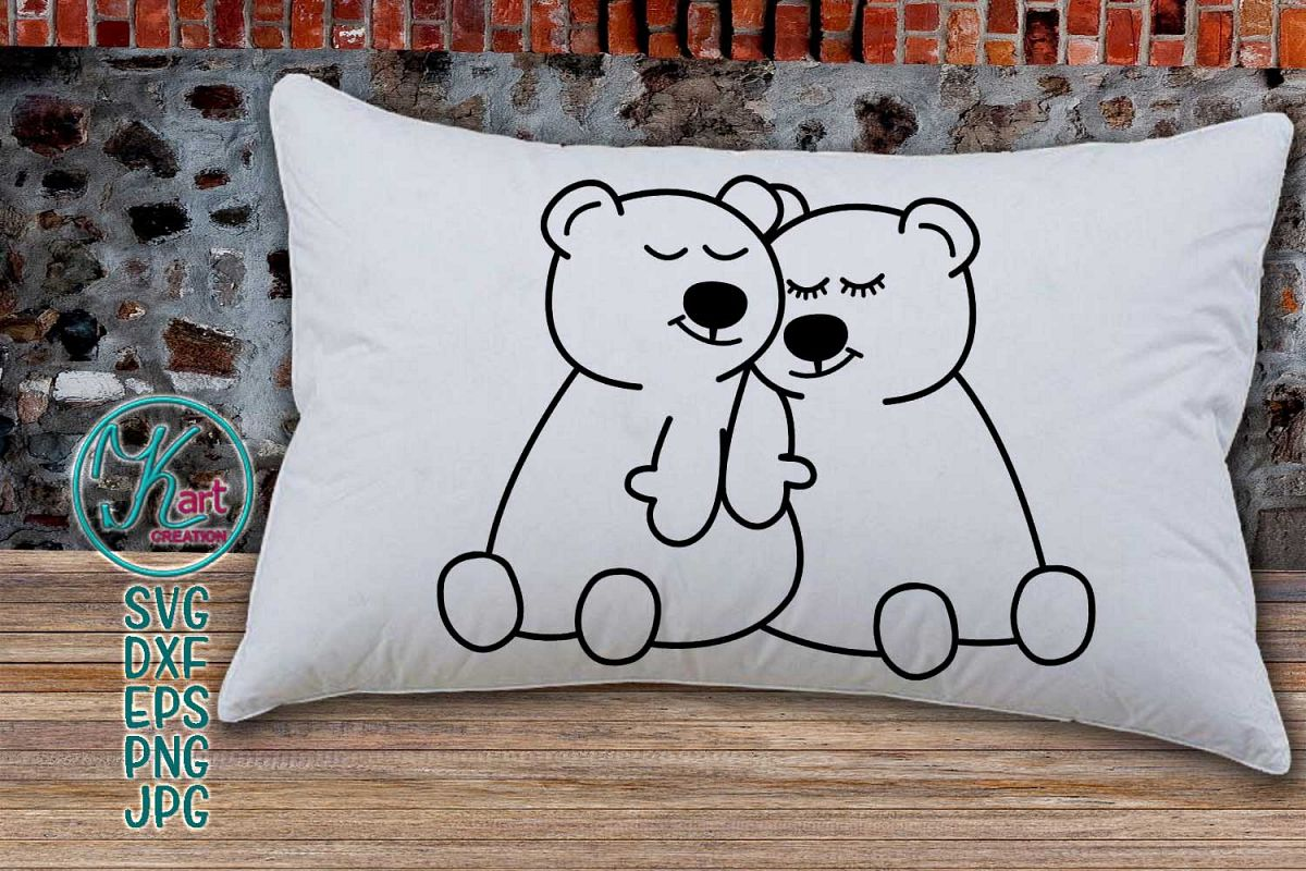 Loving Valentines day couple bears svg dxf to cut print file example image 1