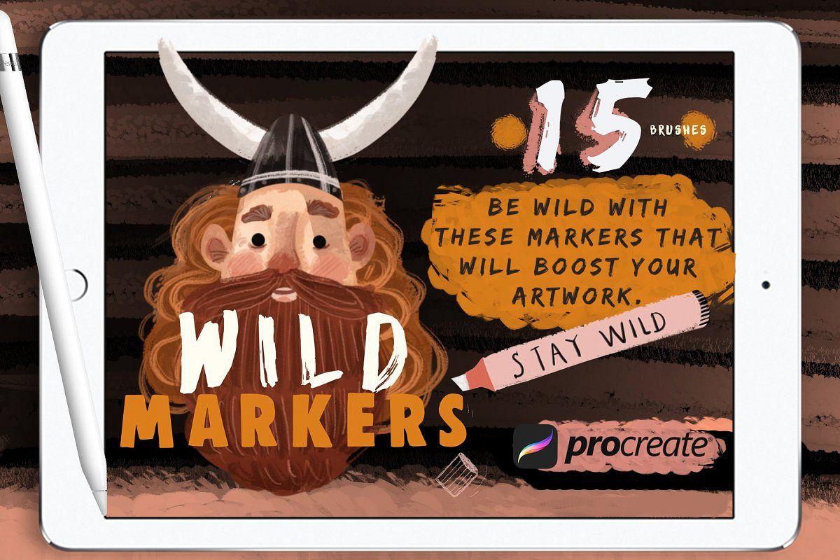 Wild Markers Procreate Brushes example image 1