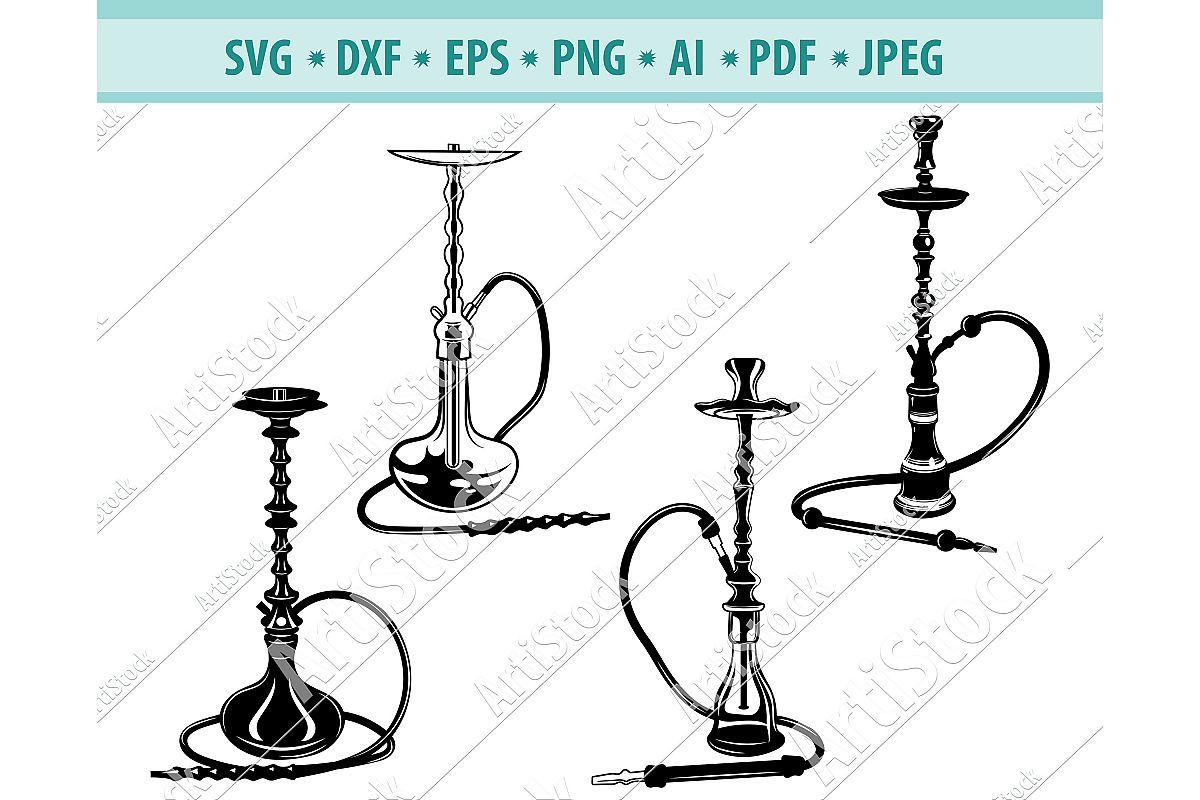HOOKAH SVG, Hookah pipe svg, Hookah clipart ,Dxf, Png, Eps example image 1