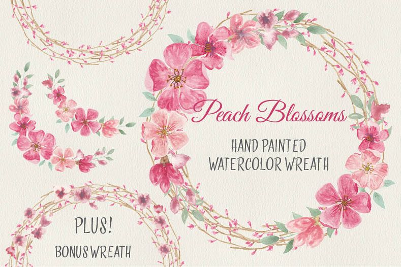 Watercolor wreath of peach blossoms example image 1