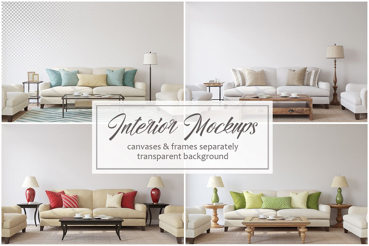 Living-room interiors. Wall&Frames Mockup. example image 1